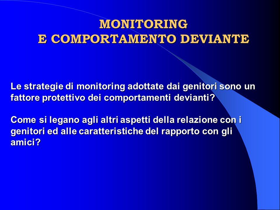 MONITORING E COMPORTAMENTO DEVIANTE Le strategie di monitoring adottate dai genitori sono un fattore protettivo dei comportamenti devianti? Come si le