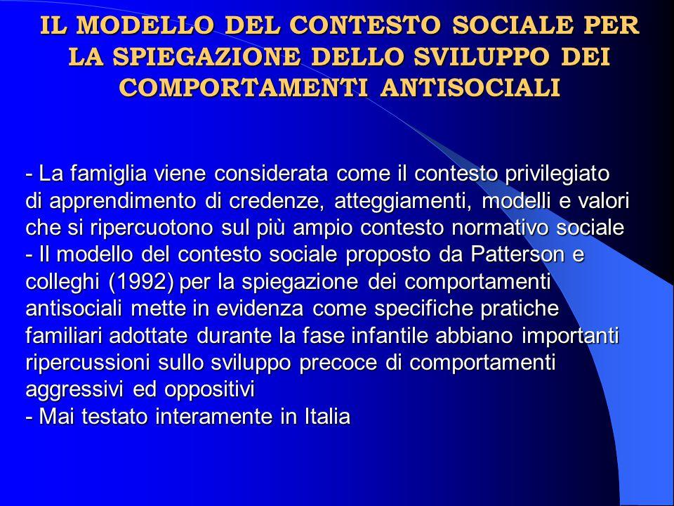 IL MODELLO DEL CONTESTO SOCIALE PER LA SPIEGAZIONE DELLO SVILUPPO DEI COMPORTAMENTI ANTISOCIALI - La famiglia viene considerata come il contesto privi