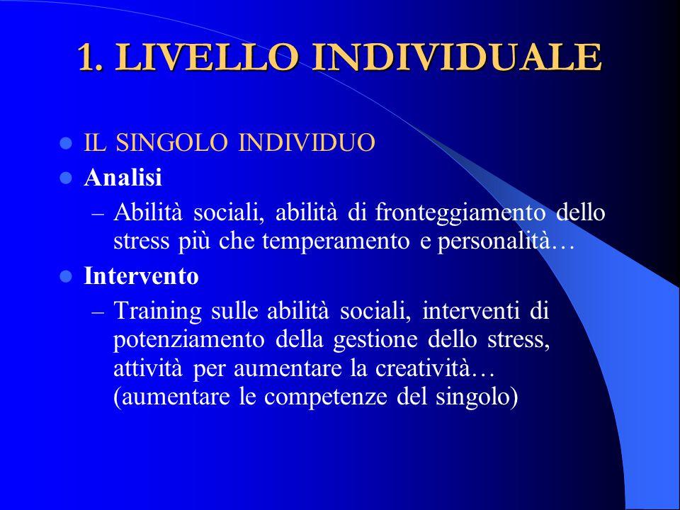 1. LIVELLO INDIVIDUALE IL SINGOLO INDIVIDUO Analisi – Abilità sociali, abilità di fronteggiamento dello stress più che temperamento e personalità… Int