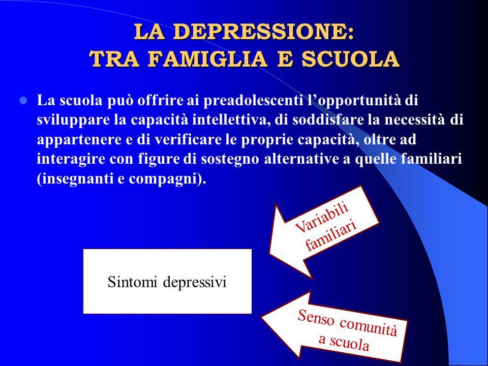 LA DEPRESSIONE: TRA FAMIGLIA E SCUOLA La scuola può offrire ai preadolescenti l'opportunità di sviluppare la capacità intellettiva, di soddisfare la n