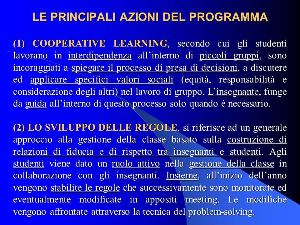 LE PRINCIPALI AZIONI DEL PROGRAMMA (1) COOPERATIVE LEARNING, secondo cui gli studenti lavorano in interdipendenza all'interno di piccoli gruppi, sono