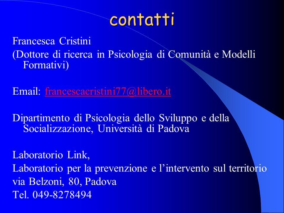 contatti Francesca Cristini (Dottore di ricerca in Psicologia di Comunità e Modelli Formativi) Email: francescacristini77@libero.itfrancescacristini77