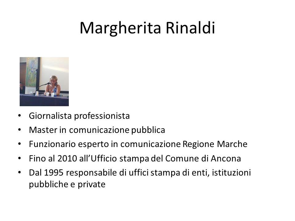 Giornalista professionista Master in comunicazione pubblica Funzionario esperto in comunicazione Regione Marche Fino al 2010 all'Ufficio stampa del Comune di Ancona Dal 1995 responsabile di uffici stampa di enti, istituzioni pubbliche e private