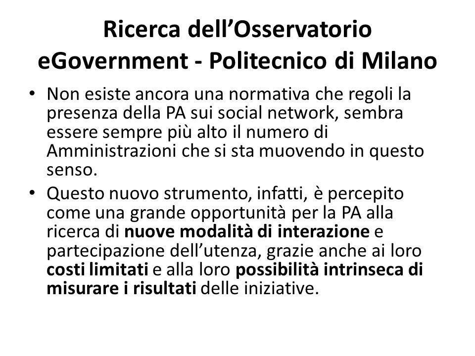 Ricerca dell'Osservatorio eGovernment - Politecnico di Milano Non esiste ancora una normativa che regoli la presenza della PA sui social network, sembra essere sempre più alto il numero di Amministrazioni che si sta muovendo in questo senso.