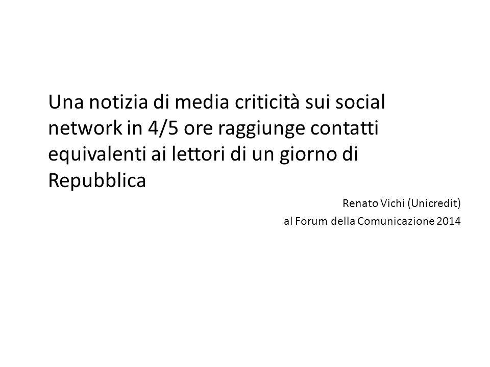Una notizia di media criticità sui social network in 4/5 ore raggiunge contatti equivalenti ai lettori di un giorno di Repubblica Renato Vichi (Unicredit) al Forum della Comunicazione 2014