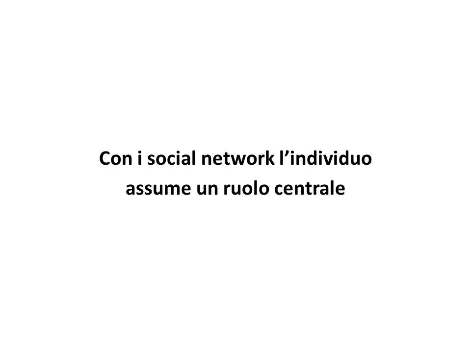 Con i social network l'individuo assume un ruolo centrale