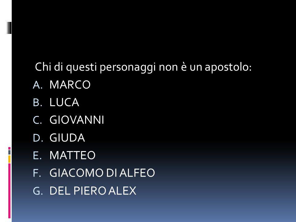 Chi di questi personaggi non è un apostolo: A. MARCO B. LUCA C. GIOVANNI D. GIUDA E. MATTEO F. GIACOMO DI ALFEO G. DEL PIERO ALEX