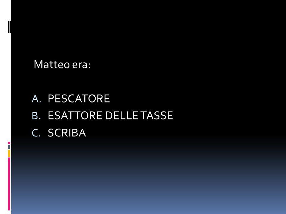 Matteo era: A. PESCATORE B. ESATTORE DELLE TASSE C. SCRIBA