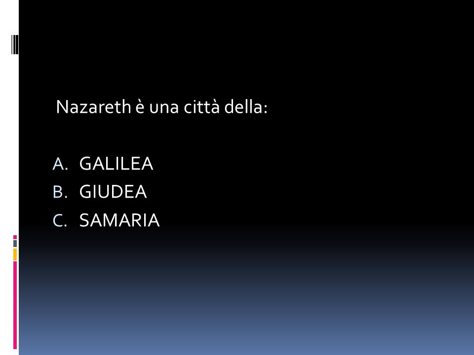 L'Angelo Gabriele disse a Maria: A.BENEDETTA TU FRA LE DONNE B.