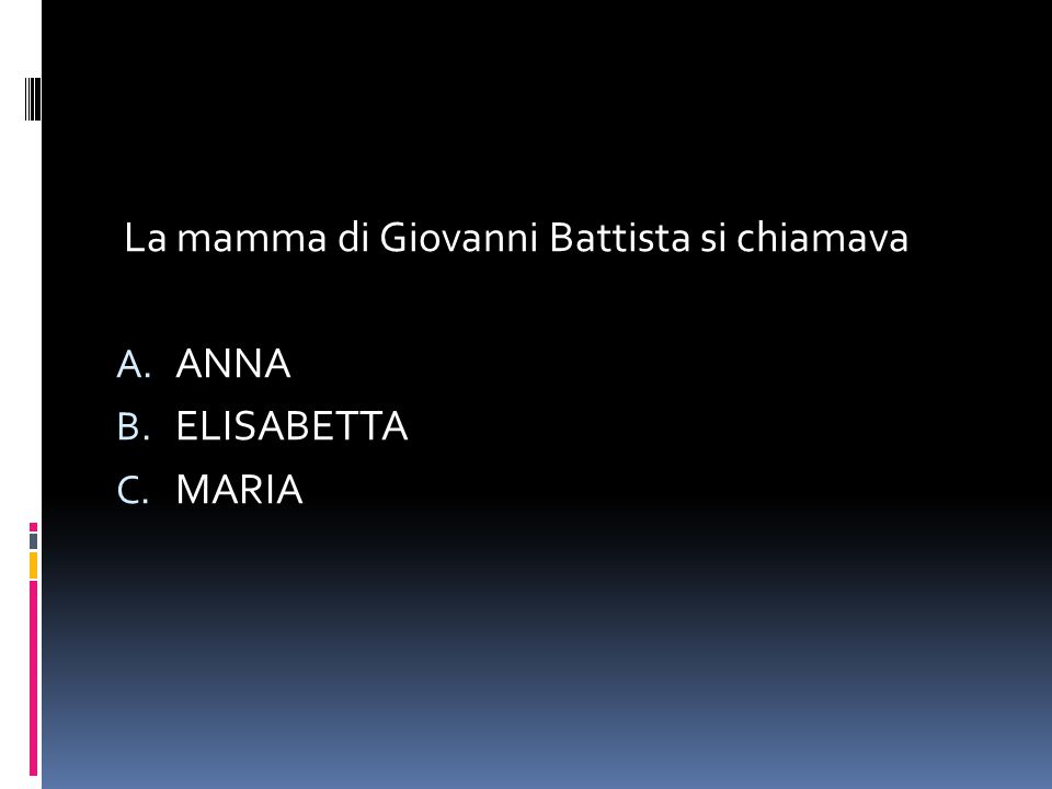 La mamma di Giovanni Battista si chiamava A. ANNA B. ELISABETTA C. MARIA