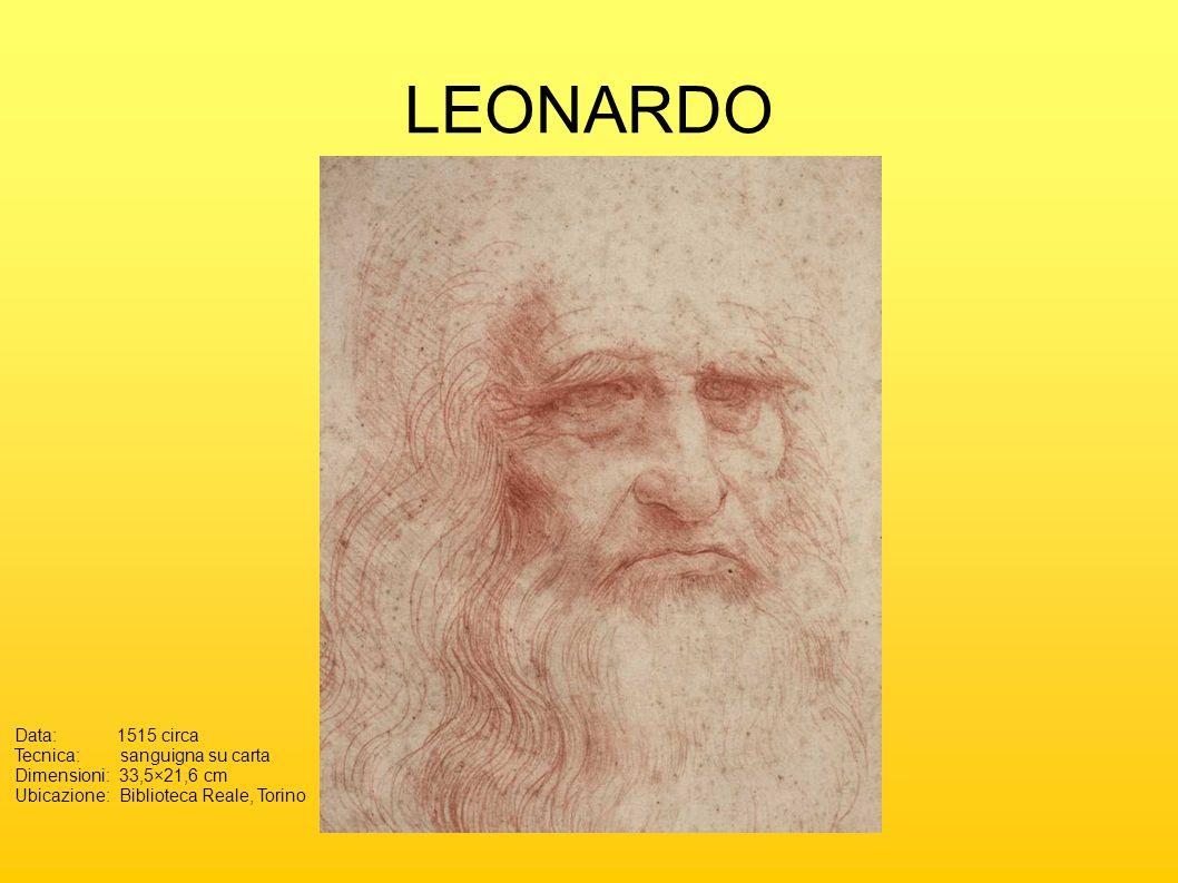 LEONARDO Data: 1515 circa Tecnica: sanguigna su carta Dimensioni:33,5×21,6 cm Ubicazione:Biblioteca Reale, Torino