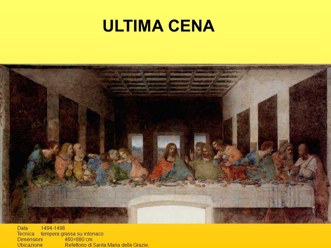 Data1494-1498 Tecnicatempera grassa su intonaco Dimensioni460×880 cm UbicazioneRefettorio di Santa Maria delle Grazie, Milano ULTIMA CENA