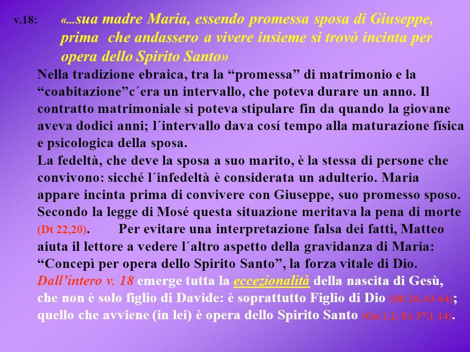v.18: «... sua madre Maria, essendo promessa sposa di Giuseppe, prima che andassero a vivere insieme si trovò incinta per opera dello Spirito Santo» N