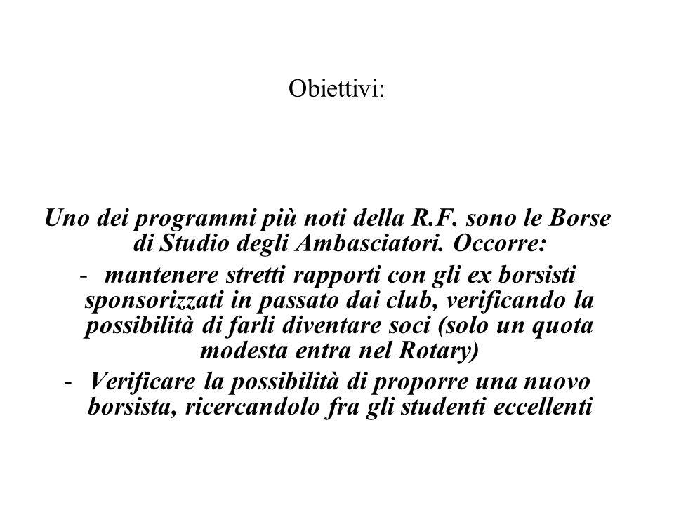 Uno dei programmi più noti della R.F. sono le Borse di Studio degli Ambasciatori.