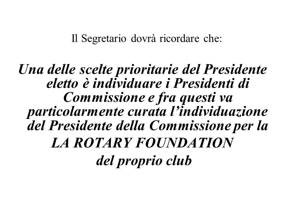 Qualora il Presidente ravvisasse distacco o peggio diffidenza nei confronti della Rotary Foundation SIAMO CONVINTI CHE CONOSCENDOLA A FONDO NON SI PUO' CHE APPREZZARNE L'ATTIVITA' E LE MODALITA' DI GESTIONE I membri della commissione per la R.F.
