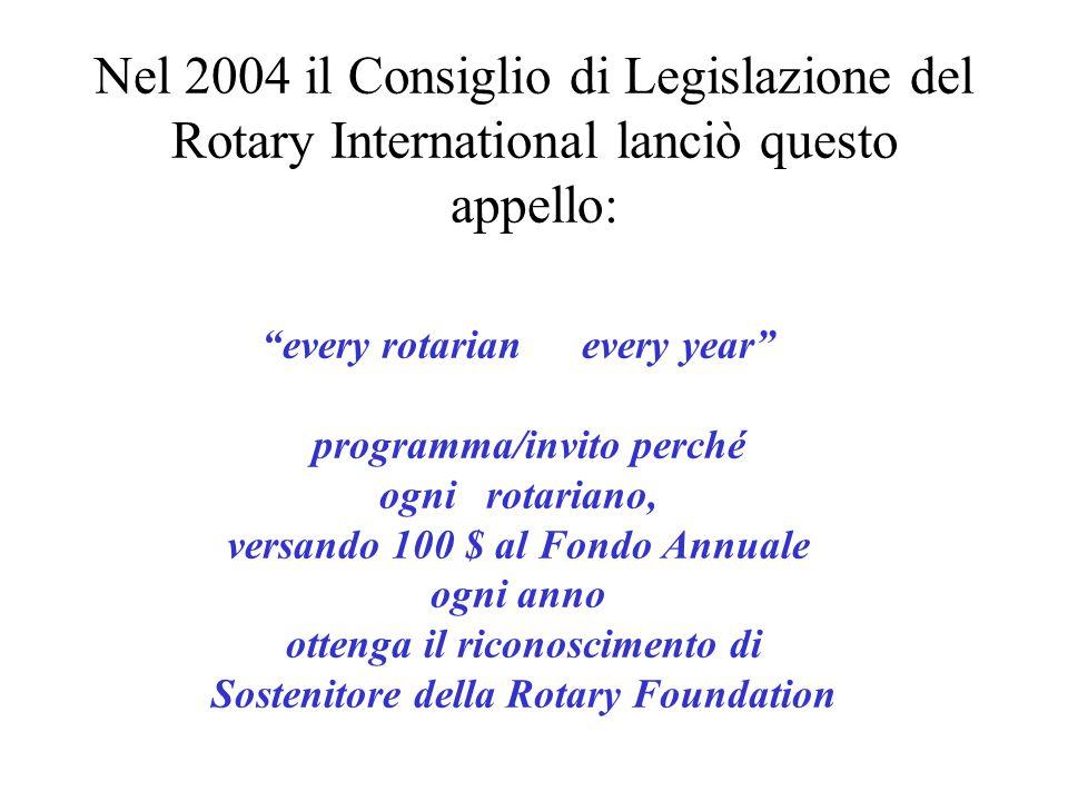 every rotarian every year programma/invito perché ogni rotariano, versando 100 $ al Fondo Annuale ogni anno ottenga il riconoscimento di Sostenitore della Rotary Foundation Nel 2004 il Consiglio di Legislazione del Rotary International lanciò questo appello: