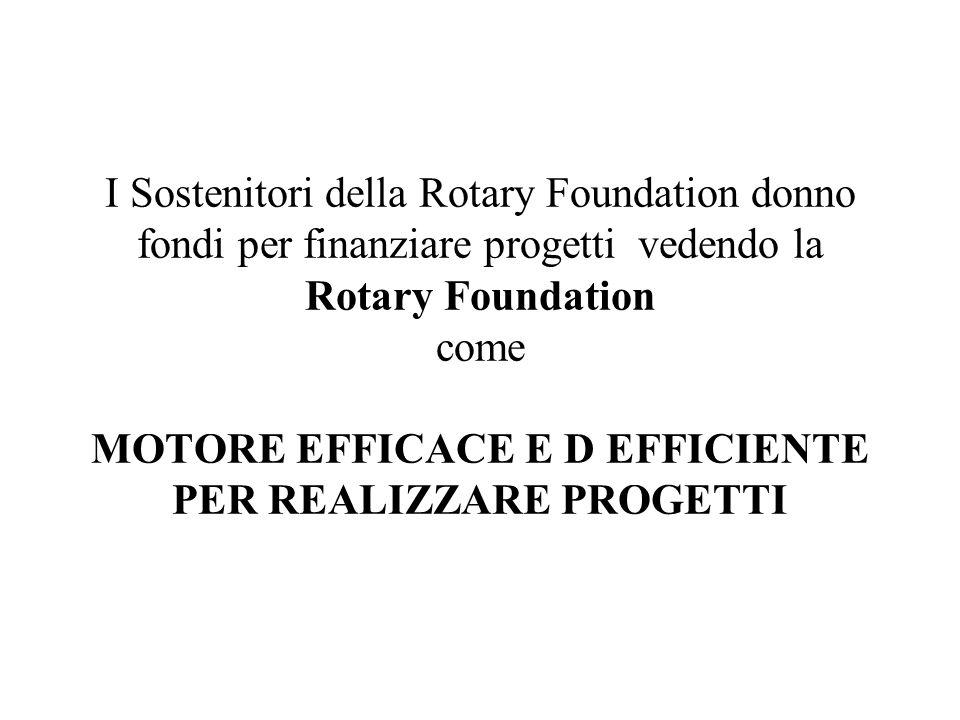 I Sostenitori della Rotary Foundation donno fondi per finanziare progetti vedendo la Rotary Foundation come MOTORE EFFICACE E D EFFICIENTE PER REALIZZ