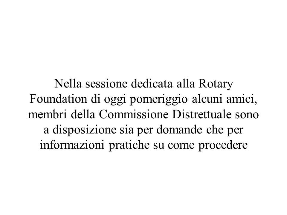 Nella sessione dedicata alla Rotary Foundation di oggi pomeriggio alcuni amici, membri della Commissione Distrettuale sono a disposizione sia per domande che per informazioni pratiche su come procedere