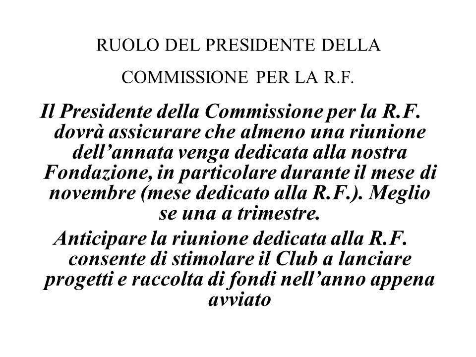 Il Presidente della Commissione per la R.F. dovrà assicurare che almeno una riunione dell'annata venga dedicata alla nostra Fondazione, in particolare