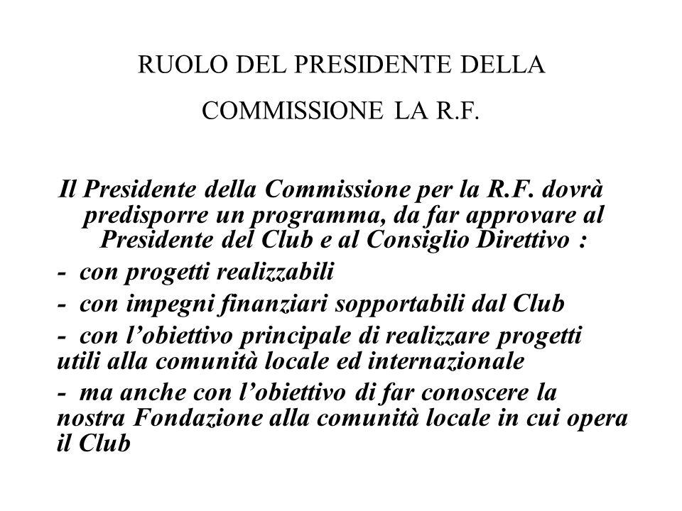 Il Presidente della Commissione per la R.F. dovrà predisporre un programma, da far approvare al Presidente del Club e al Consiglio Direttivo : - con p