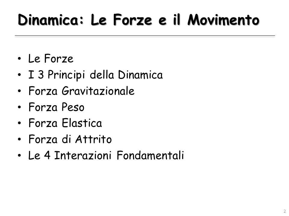 Dinamica: Le Forze e il Movimento Le Forze I 3 Principi della Dinamica Forza Gravitazionale Forza Peso Forza Elastica Forza di Attrito Le 4 Interazioni Fondamentali 2