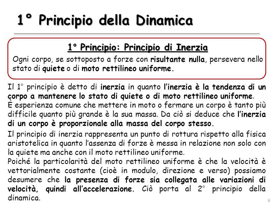 1° Principio della Dinamica 1° Principio: Principio di Inerzia Ogni corpo, se sottoposto a forze con risultante nulla, persevera nello stato di quiete o di moto rettilineo uniforme.