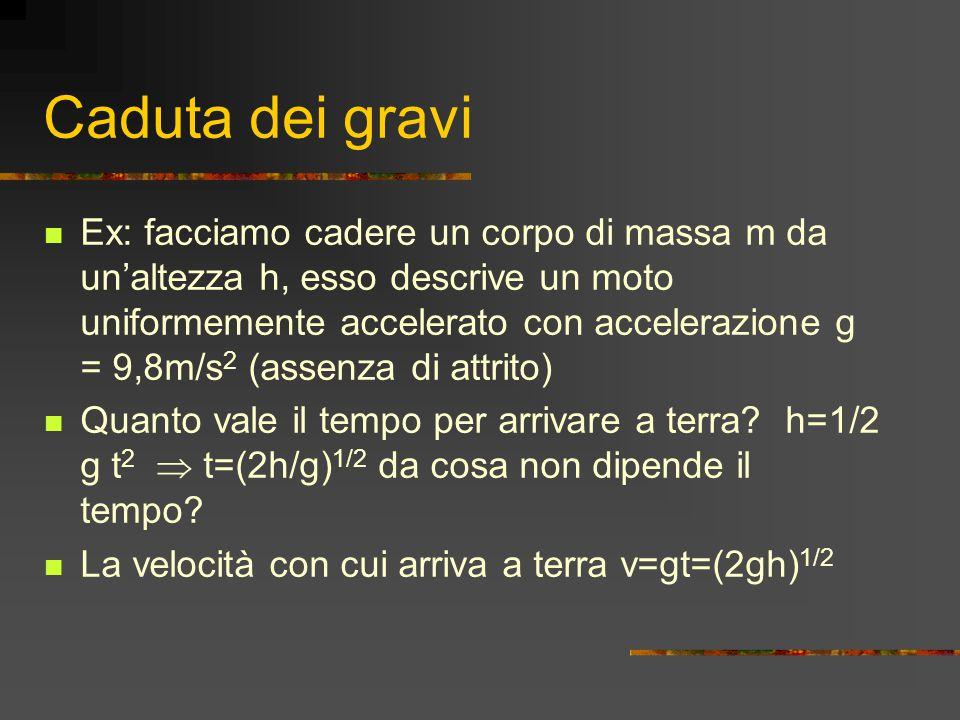 Caduta dei gravi Ex: facciamo cadere un corpo di massa m da un'altezza h, esso descrive un moto uniformemente accelerato con accelerazione g = 9,8m/s