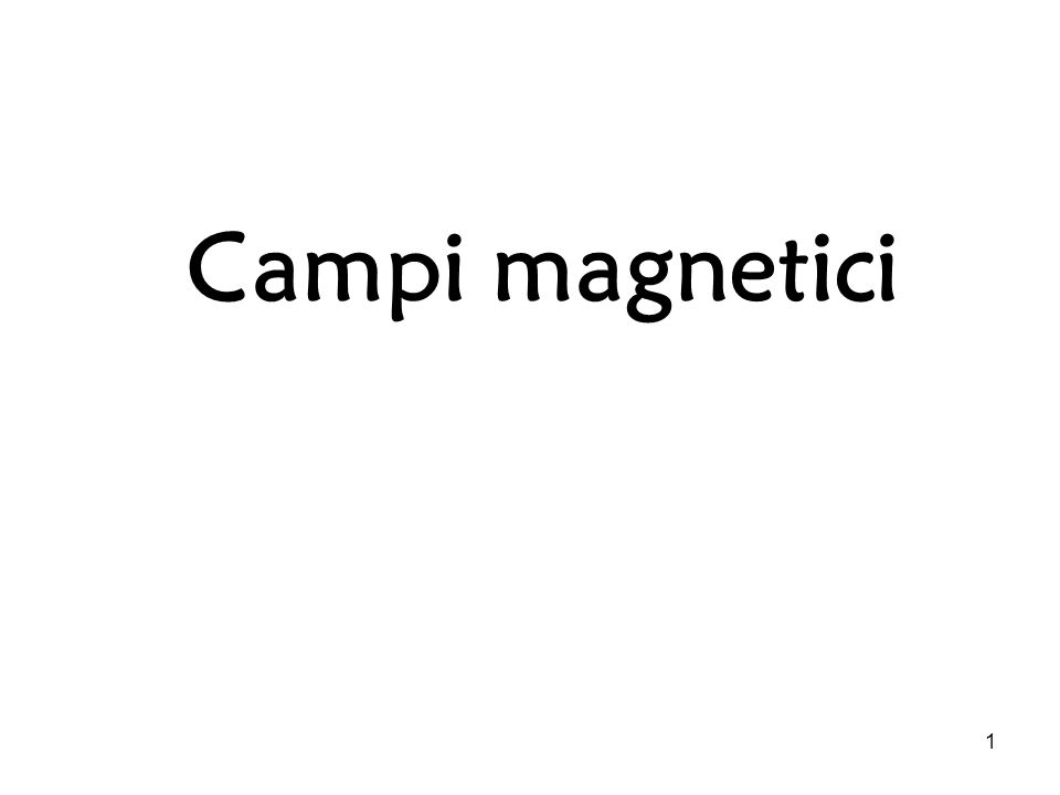 1 Campi magnetici