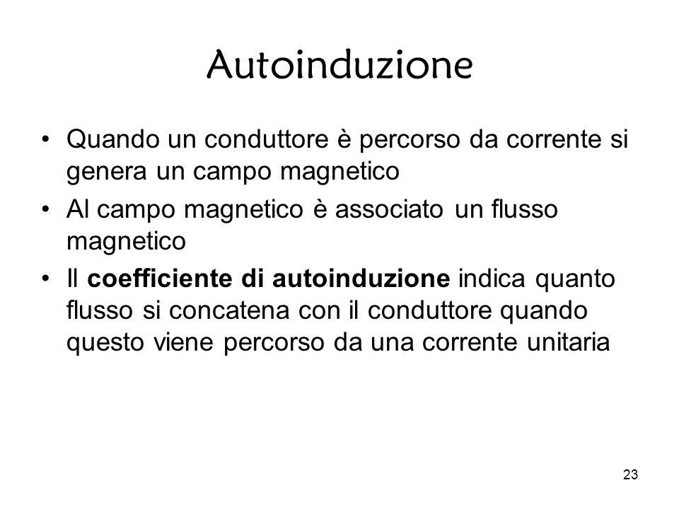 23 Autoinduzione Quando un conduttore è percorso da corrente si genera un campo magnetico Al campo magnetico è associato un flusso magnetico Il coefficiente di autoinduzione indica quanto flusso si concatena con il conduttore quando questo viene percorso da una corrente unitaria