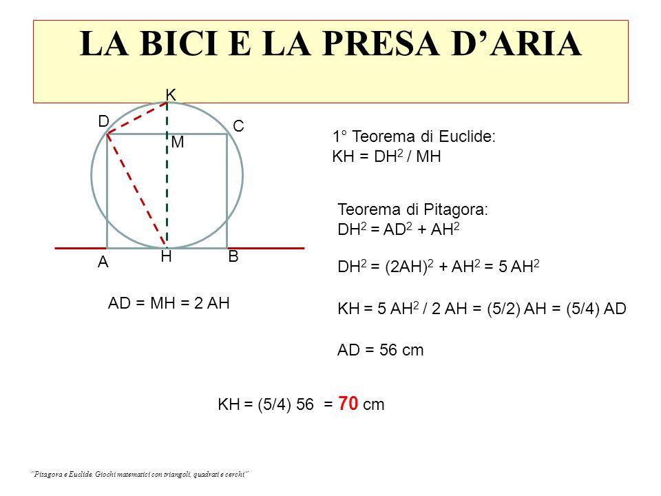 LA BICI E LA PRESA D'ARIA A B C H D K 1° Teorema di Euclide: KH = DH 2 / MH M AD = MH = 2 AH Teorema di Pitagora: DH 2 = AD 2 + AH 2 DH 2 = (2AH) 2 + AH 2 = 5 AH 2 KH = 5 AH 2 / 2 AH = (5/2) AH = (5/4) AD AD = 56 cm KH = (5/4) 56 = 70 cm Pitagora e Euclide.