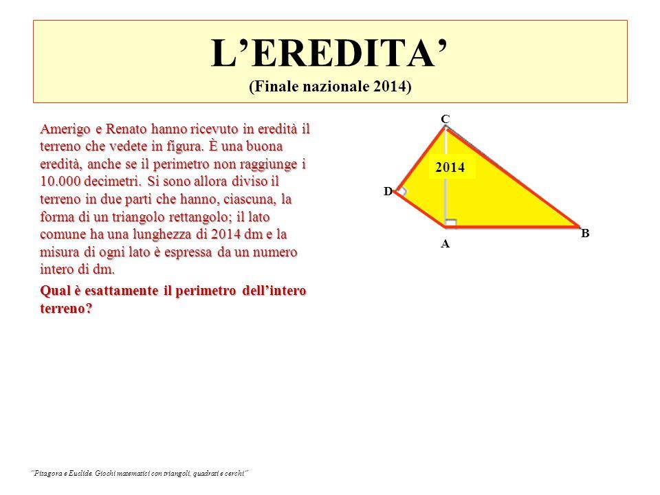 L'EREDITA' (Finale nazionale 2014) Amerigo e Renato hanno ricevuto in eredità il terreno che vedete in figura.