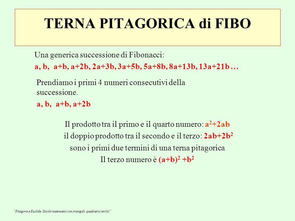 TERNA PITAGORICA di FIBO Una generica successione di Fibonacci: a, b, a+b, a+2b, 2a+3b, 3a+5b, 5a+8b, 8a+13b, 13a+21b … Prendiamo i primi 4 numeri consecutivi della successione.