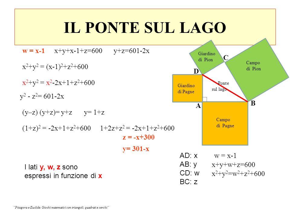 IL PONTE SUL LAGO w = x-1 Campo di Pion Giardino di Pion Giardino di Pagne Campo di Pagne Ponte sul lago B A D C AD: x AB: y CD: w BC: z x 2 +y 2 =w 2 +z 2 +600 x 2 +y 2 = (x-1) 2 +z 2 +600 x 2 +y 2 = x 2 -2x+1+z 2 +600 y 2 - z 2 = 601-2x x+y+x-1+z=600y+z=601-2x (y–z) (y+z)= y+zy= 1+z (1+z) 2 = -2x+1+z 2 +6001+2z+z 2 = -2x+1+z 2 +600 z = -x+300 y= 301-x w = x-1 x+y+w+z=600 I lati y, w, z sono espressi in funzione di x Pitagora e Euclide.