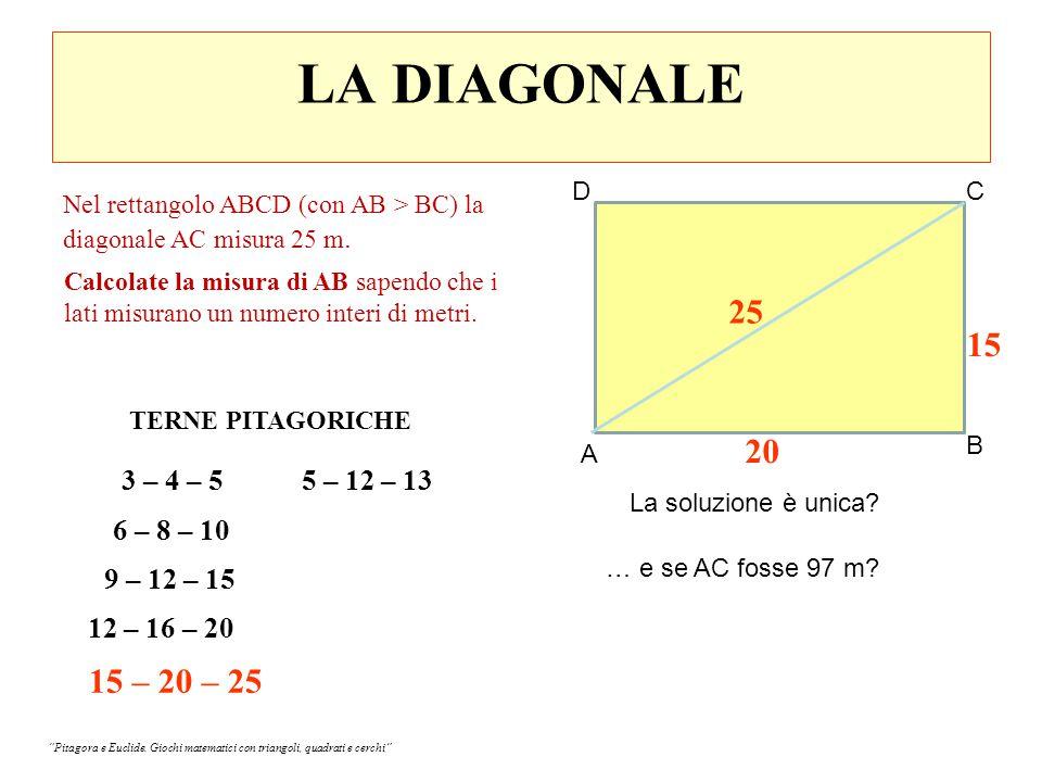 IL PONTE SUL LAGO w = x-1 Campo di Pion Giardino di Pion Giardino di Pagne Campo di Pagne Ponte sul lago B A D C z = -x+300 y= 301-x x 2 +y 2 =n 2 (Suggerimento: la soluzione è unica ed è un multiplo di 5) x, y, n è una terna pitagorica derivata da 3, 4, 5 .