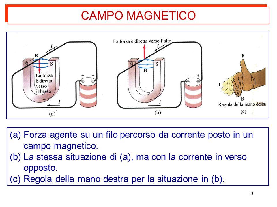 3 (a)Forza agente su un filo percorso da corrente posto in un campo magnetico.