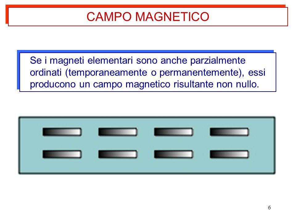 6 Se i magneti elementari sono anche parzialmente ordinati (temporaneamente o permanentemente), essi producono un campo magnetico risultante non nullo.