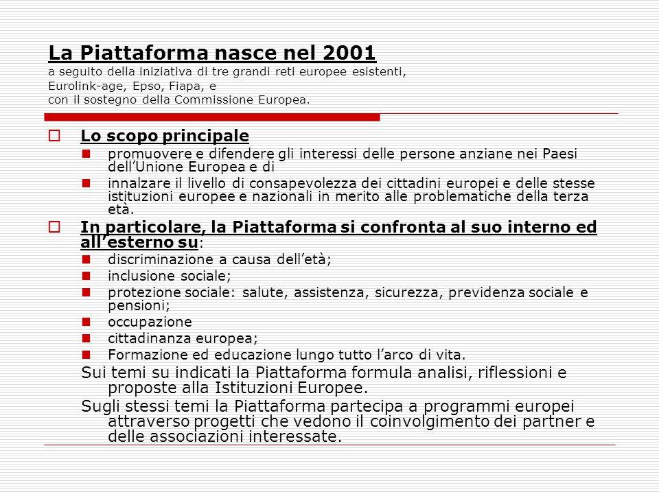 La Piattaforma nasce nel 2001 a seguito della iniziativa di tre grandi reti europee esistenti, Eurolink-age, Epso, Fiapa, e con il sostegno della Commissione Europea.