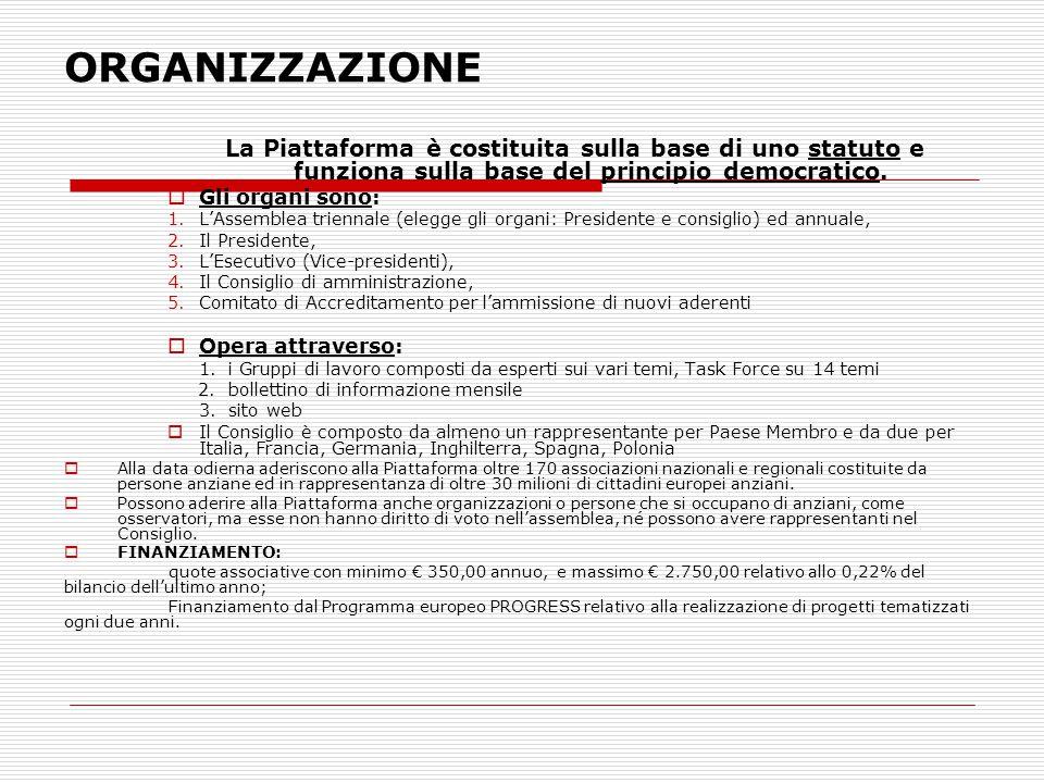 AGE Platform ITALIA Le organizzazioni italiane aderenti alla data odierna sono :  ANCeSCAO (associazione dei centri anziani),  FIPAC-confesercenti (federazione dei pensionati del commercio),  50&Più -confcommercio (Federazione dei pensionati del commercio),  CNA Pensionati  UNIEDA (Upter) (Unione Italiana Educazione degli Adulti)  UNITRE (università delle tre età)  ATDAL (lavoro over 40)  ANAP, Pensionati Confartigianato  ADA (associazione per i diritti degli anziani)  ANTEAS (associazione terza età e solidarietà)  Università dei 50&Più  Sindacato Pensionati Confagricoltura  Associazione lavoro over 40  Federanziani  Federazione Pensionati Coldiretti  FAP (Pensionati bancari credito)  Istituto Qualità del vivere  CIA Pensionati  FAP ACLI  UPTER Solidarietà  Associazione Età Libera  S.A.PENS (ORSA)  Fondazione Sviluppo Europa  Confeuro over 50  ANPEComit (Bancari)