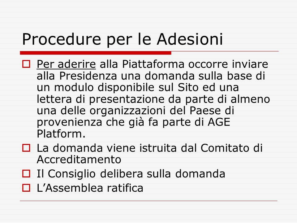 Procedure per le Adesioni  Per aderire alla Piattaforma occorre inviare alla Presidenza una domanda sulla base di un modulo disponibile sul Sito ed una lettera di presentazione da parte di almeno una delle organizzazioni del Paese di provenienza che già fa parte di AGE Platform.