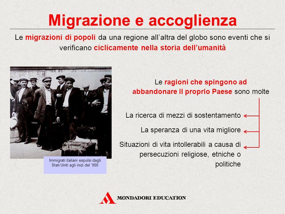 Migrazione e accoglienza Le migrazioni di popoli da una regione all'altra del globo sono eventi che si verificano ciclicamente nella storia dell'umani