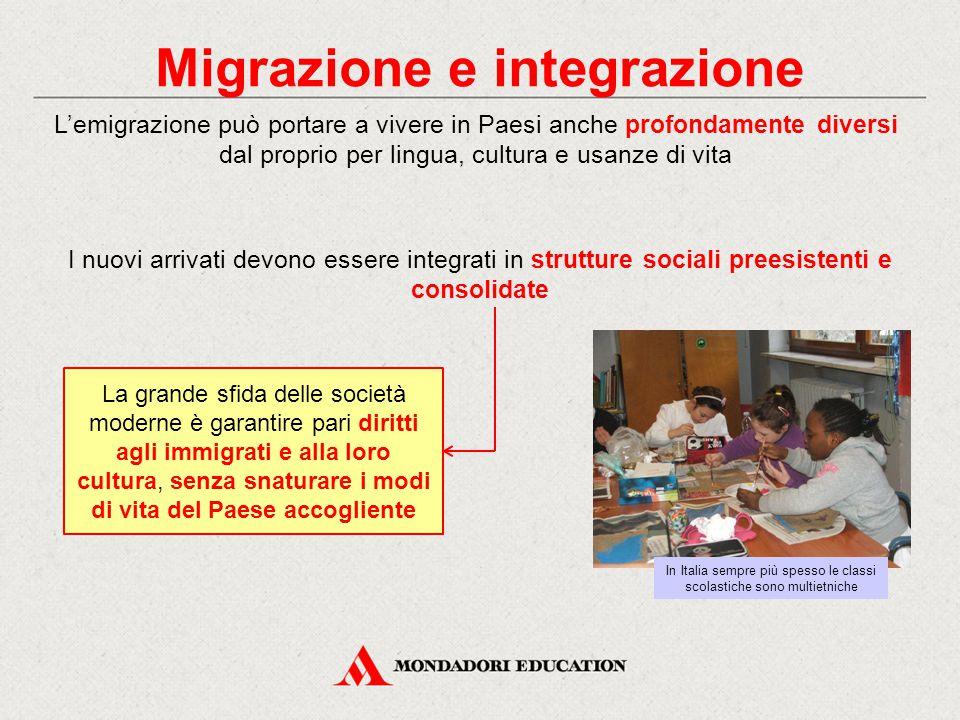Migrazione e integrazione I nuovi arrivati devono essere integrati in strutture sociali preesistenti e consolidate L'emigrazione può portare a vivere