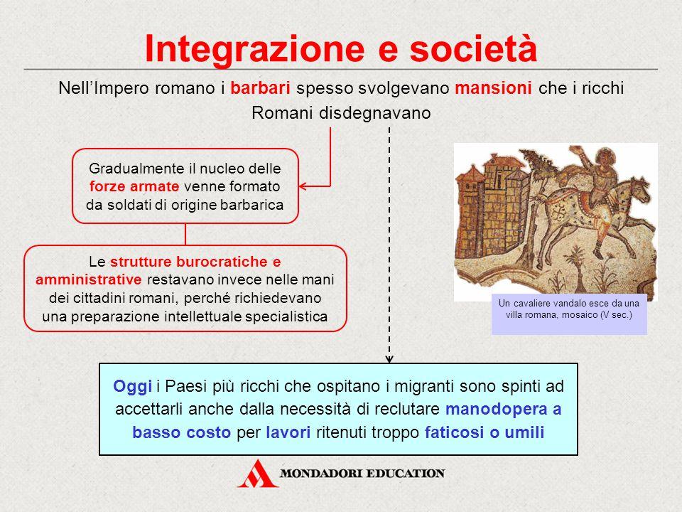 Integrazione e società Nell'Impero romano i barbari spesso svolgevano mansioni che i ricchi Romani disdegnavano Gradualmente il nucleo delle forze arm