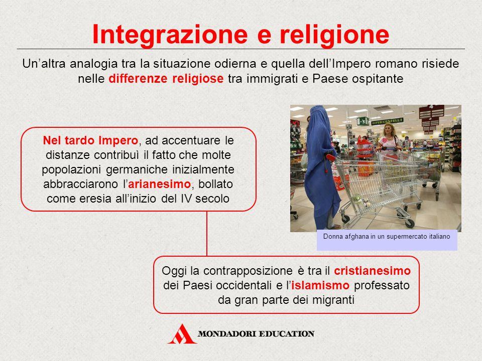 Integrazione e religione Un'altra analogia tra la situazione odierna e quella dell'Impero romano risiede nelle differenze religiose tra immigrati e Pa