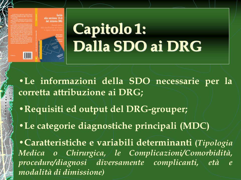 Le informazioni della SDO necessarie per la corretta attribuzione ai DRG; Requisiti ed output del DRG-grouper; Le categorie diagnostiche principali (MDC) Caratteristiche e variabili determinanti ( Tipologia Medica o Chirurgica, le Complicazioni/Comorbidità, procedure/diagnosi diversamente complicanti, età e modalità di dimissione) Capitolo 1: Dalla SDO ai DRG