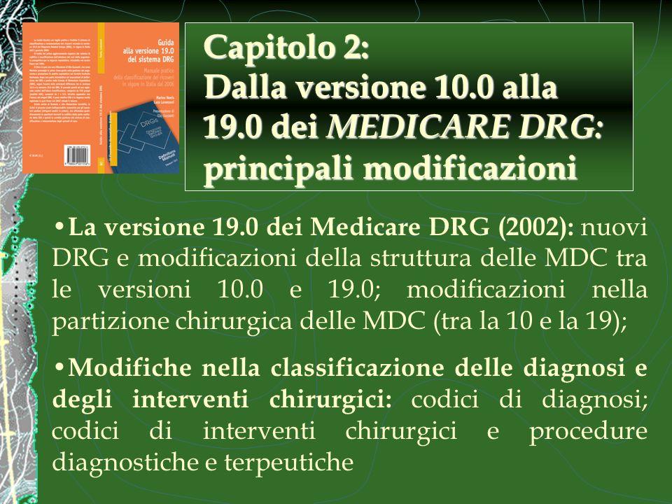 La versione 19.0 dei Medicare DRG (2002): nuovi DRG e modificazioni della struttura delle MDC tra le versioni 10.0 e 19.0; modificazioni nella partizione chirurgica delle MDC (tra la 10 e la 19); Modifiche nella classificazione delle diagnosi e degli interventi chirurgici: codici di diagnosi; codici di interventi chirurgici e procedure diagnostiche e terpeutiche Capitolo 2: Dalla versione 10.0 alla 19.0 dei MEDICARE DRG: principali modificazioni