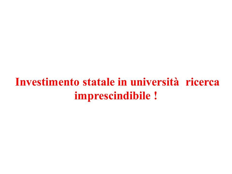 Investimento statale in università ricerca imprescindibile !