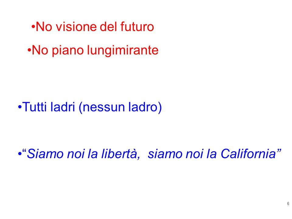 """6 Tutti ladri (nessun ladro) """"Siamo noi la libertà, siamo noi la California"""" No visione del futuro No piano lungimirante"""