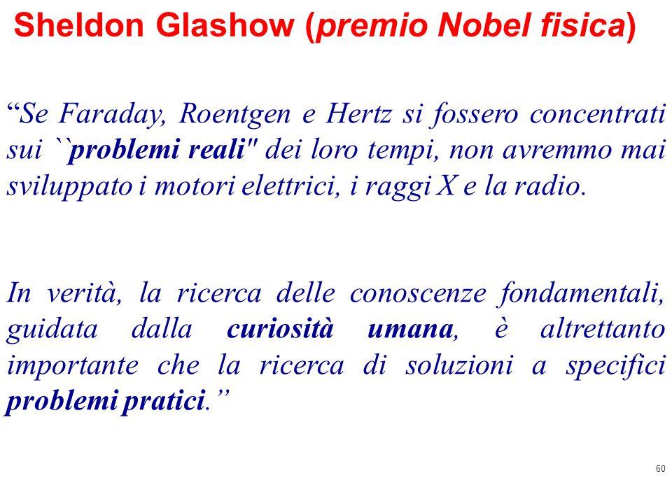60 Sheldon Glashow (premio Nobel fisica) Se Faraday, Roentgen e Hertz si fossero concentrati sui ``problemi reali dei loro tempi, non avremmo mai sviluppato i motori elettrici, i raggi X e la radio.