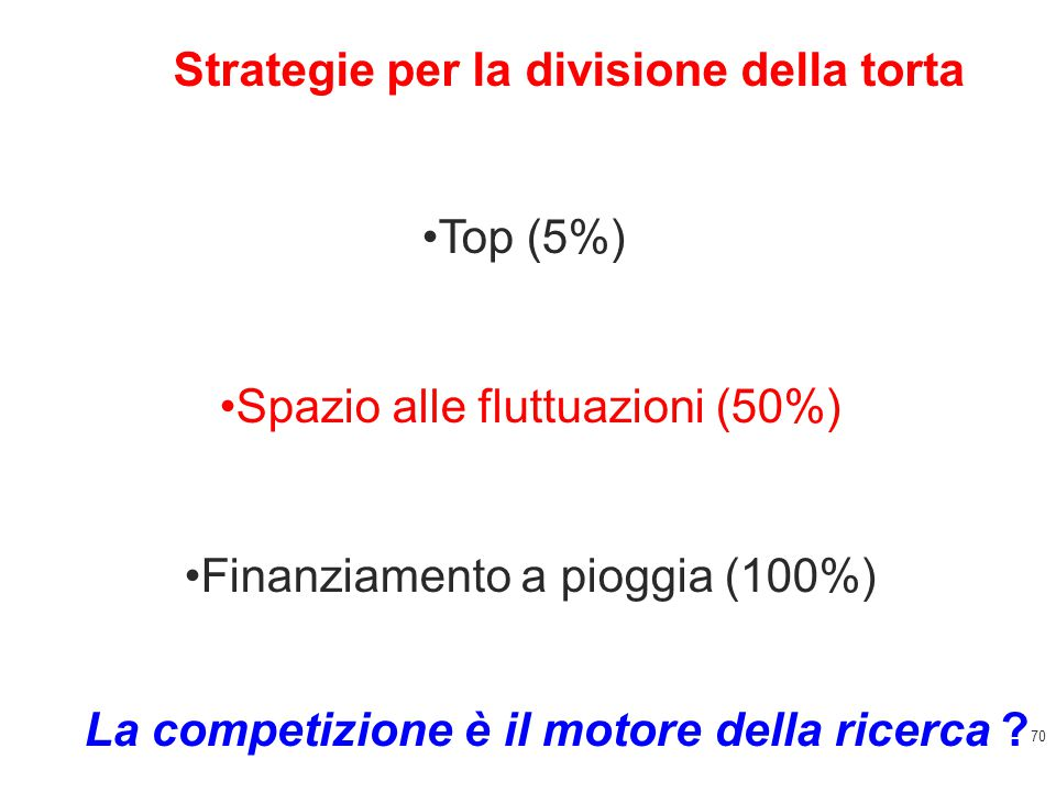 70 Top (5%) Spazio alle fluttuazioni (50%) Finanziamento a pioggia (100%) Strategie per la divisione della torta La competizione è il motore della ricerca ?