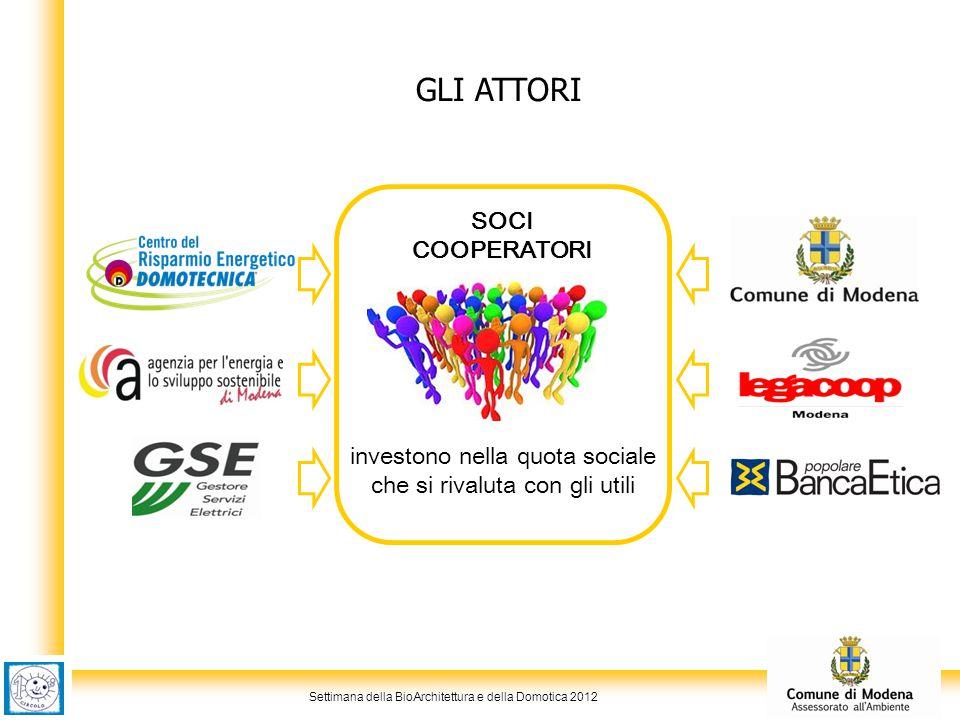 Settimana della BioArchitettura e della Domotica 2012 GLI ATTORI investono nella quota sociale che si rivaluta con gli utili SOCI COOPERATORI